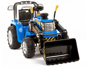 Ride On Tractor 12v Electric with Working Loader and Parental Remote Control Blue